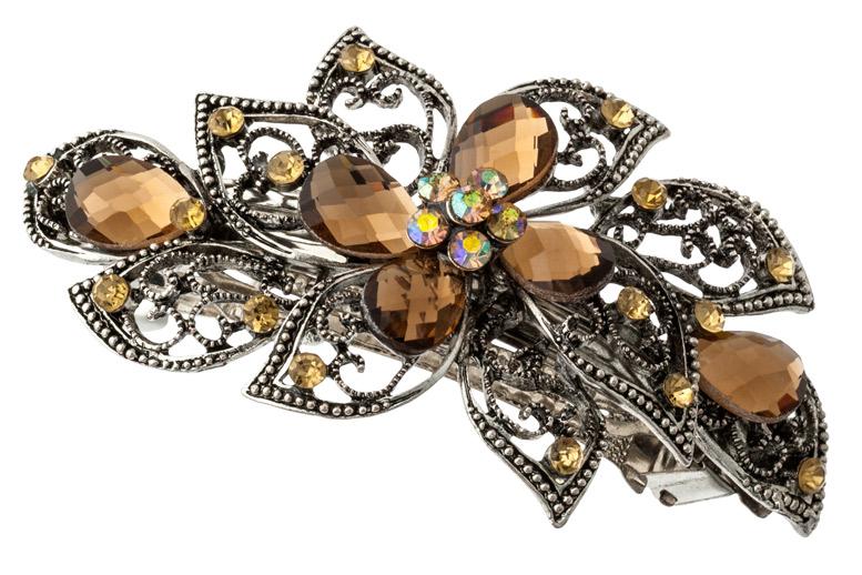 Купить красивую металлическую заколку для волос с камнями и со стразами в виде цветка.  Размер 9 см. 000500021771.