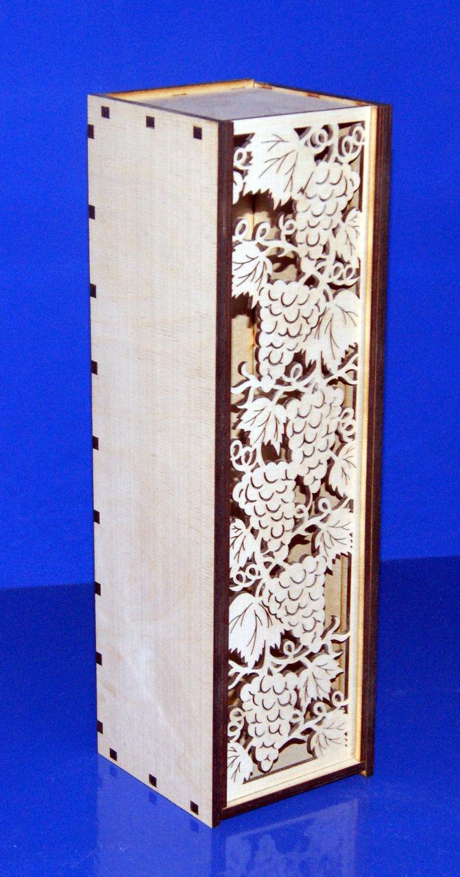 """Заготовка для хобби из фанеры, """"Коробка для вина Виноград"""", 38х11х11см, 6 мм, арт. 047210"""