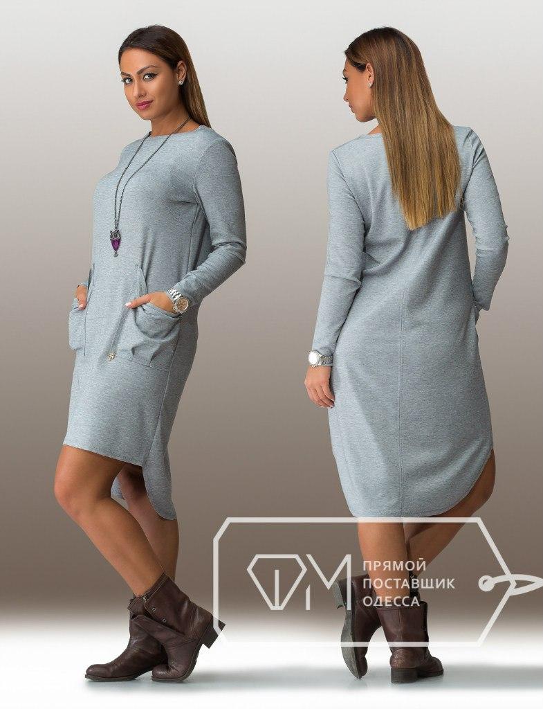 Платье из серого трикотажа для полных