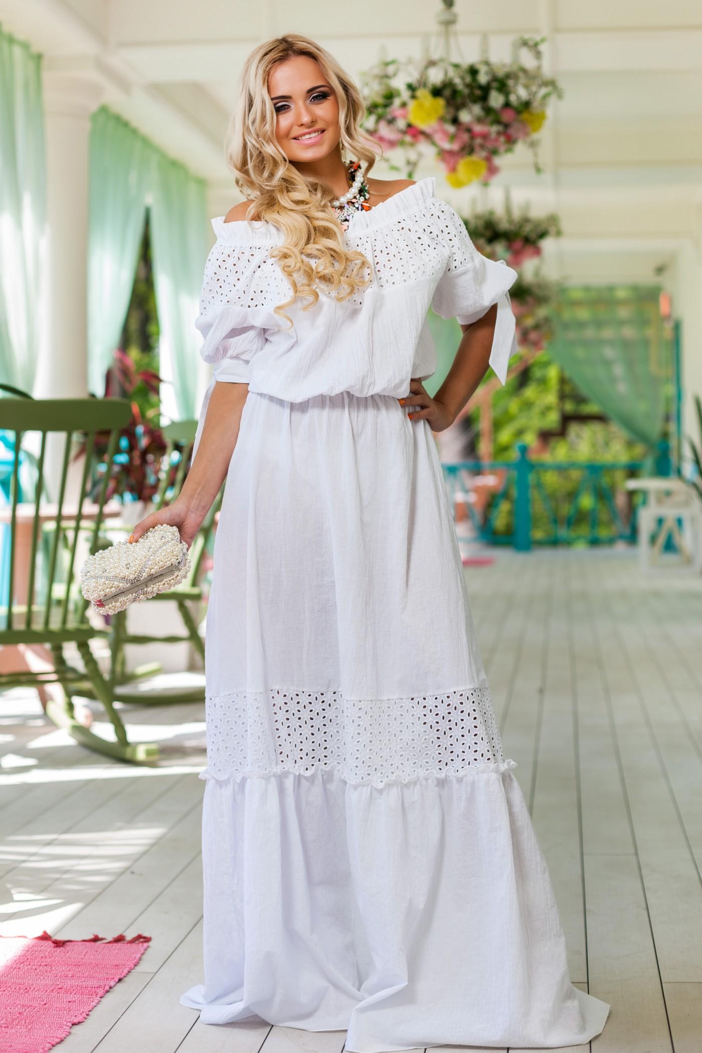 Платье белое в пол летнее
