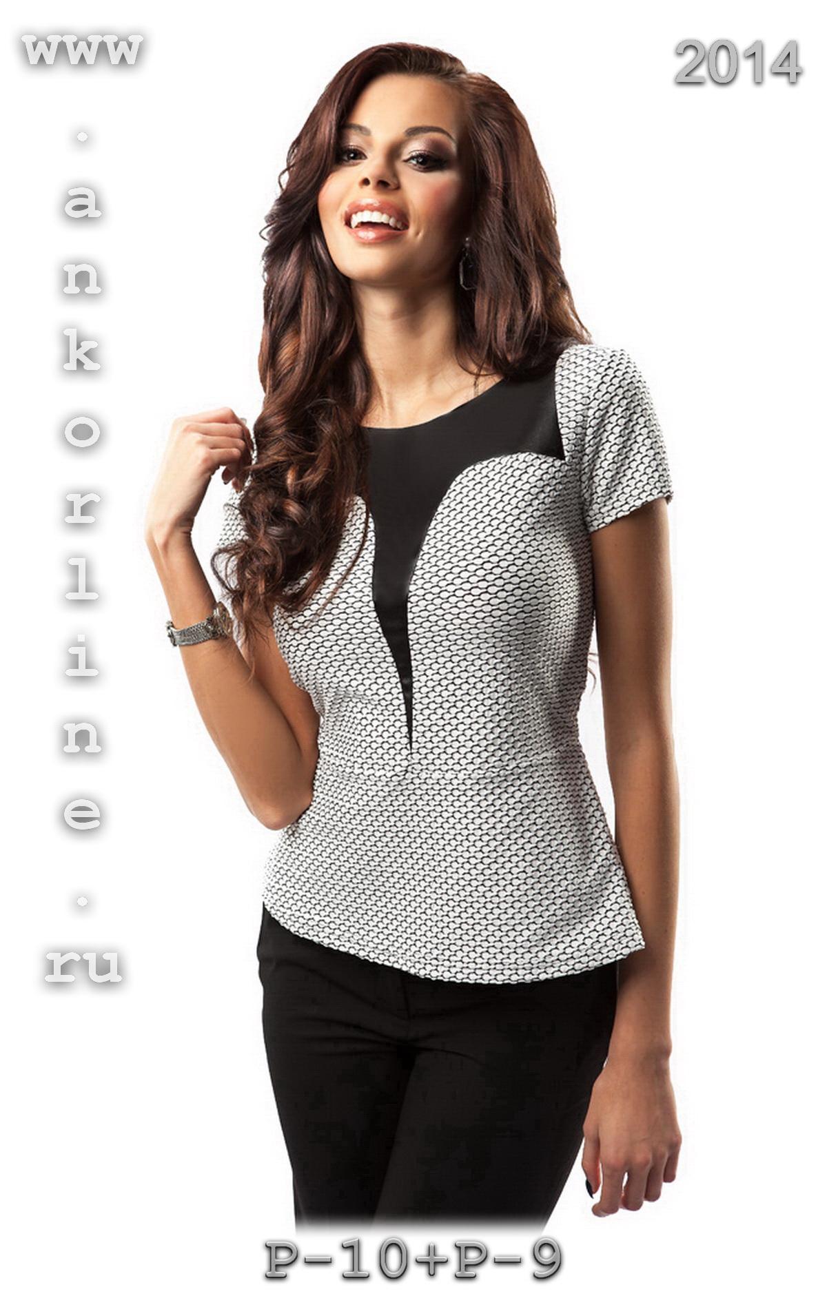 Трикотажная блузка для полных