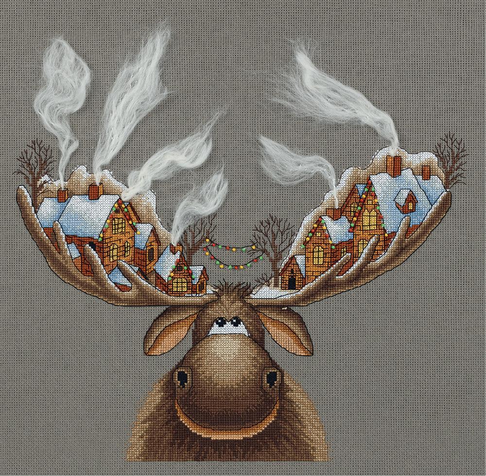 Открытки новый год с оленями, утро
